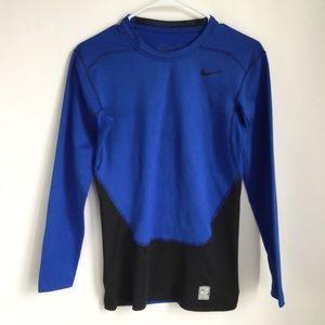 Nike Men's Combat Pro Dri Fit Blue Black Shirt